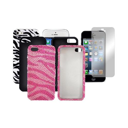 Apple Iphone 5 Essential Zebra Combo: Silver & Black Hard Case, Black & White Crystal Skin, Hot Pink & Baby Pink Zebra Cases ,Mirror Screen Protector