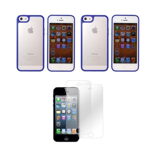Apple iPhone 5/5S Essential Bundle w/ 2 Blue & Frost White Hard Case w/ Gummy Silicone Border & 2-Pack Screen Protector