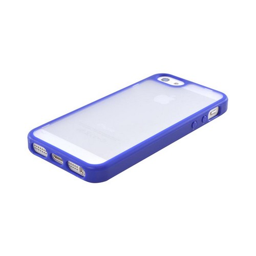 Apple iPhone 5/5S Essential Bundle w/ 2 Hard Case w/ Gummy Silicone Border Cases (1 Blue  1 Hot Pink) & 2 Screen Protectors