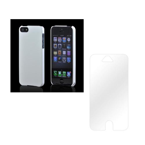 Apple iPhone 5 Essential Bundle with White Premium High Impact Rubberized Hard Case & Clear Screen Protector