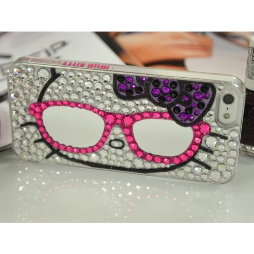 Hello Kitty w/ Mirror Glasses & Silver Jewels Clear Hard Case for Apple iPhone 5/5S