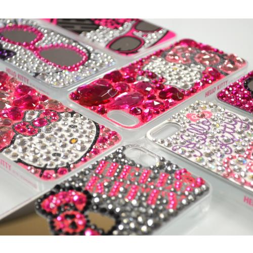 Hot Pink Hello Kitty w/ Mirror Glasses & Silver Jewels Clear Hard Case for Apple iPhone 5/5S
