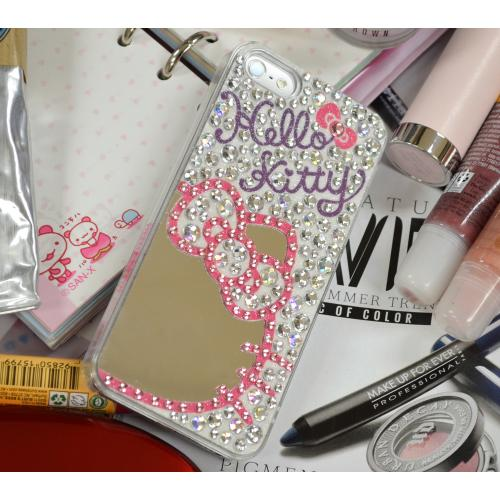 Hello Kitty Silhouette w/ Mirror on Baby Pink & Silver Jewels Clear Hard Case for Apple iPhone 5/5S