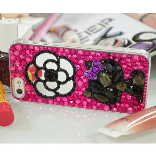 Apple iPhone SE / 5 / 5S Hard Case, Hello Kitty [Silhouette w/ Mirror Flower on Hot Pink & Purple Jewels]  Protective Hard Case Cover