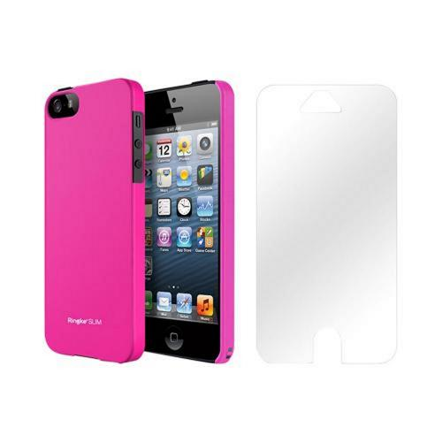 Apple iPhone 5/5S Vital Bundle w/ Rearth Slim Hot Pink Rubberized Hard Case & Clear Screen Protector