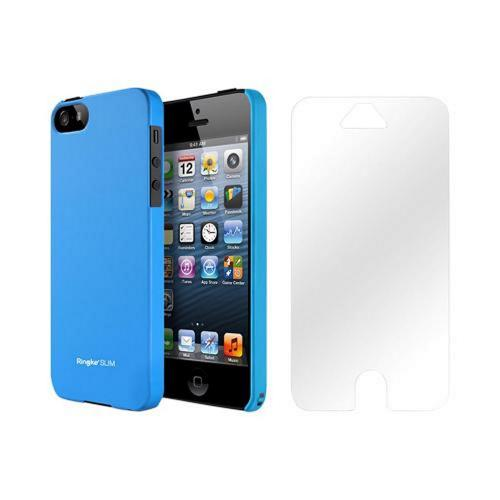 Apple iPhone 5/5S Vital Bundle w/ Rearth Slim Blue Rubberized Hard Case & Clear Screen Protector