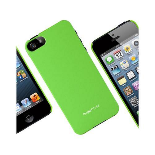 Apple iPhone 5/5S Vital Bundle w/ Rearth Slim Neon Green Rubberized Hard Case & Clear Screen Protector