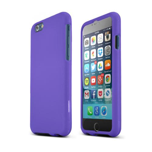 Apple iPhone 6 Combo Package | Hot Pink & Purple Rubberized Cases, Mirror Screen Protector & Mfi Certified Data Cable