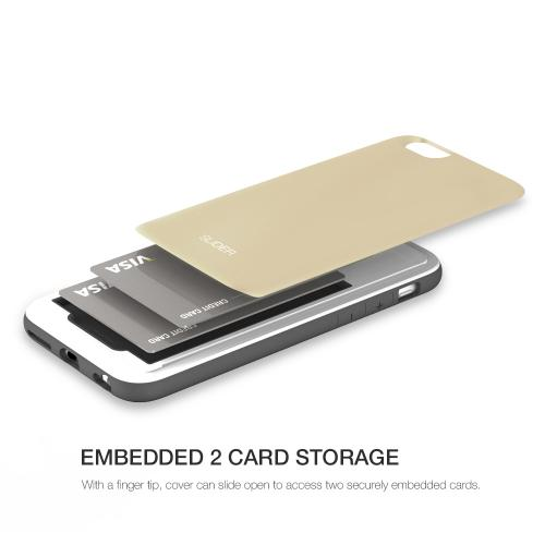 Apple iPhone 6/ 6S Case, Design Skin [Gold] SLIDER Premium 3-Layer Bumper Protective Storage Case w/ Shockproof Sliding Cards Slots