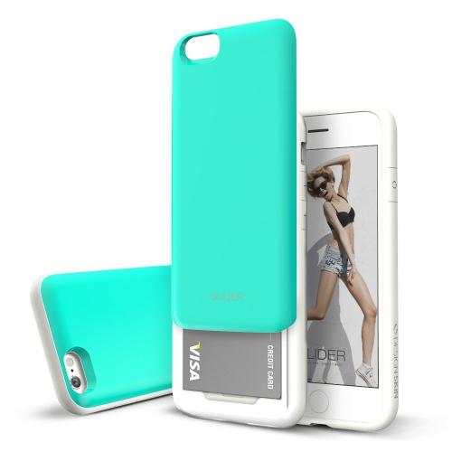 Apple iPhone 6/ 6S Case, Design Skin [Mint Blue] SLIDER Premium 3-Layer Bumper Protective Storage Case w/ Shockproof Sliding Cards Slots