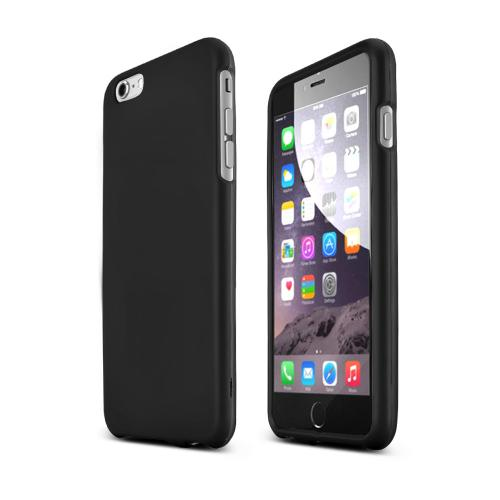 Essential Combo Package For Apple iPhone 6 PLUS/6S PLUS (5.5 inch) W/ Black Rubberized Hard Case, Screen Protector, Leather Pouch & Mfi Certified Data Cable