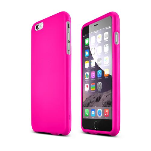 Essential Girly Combo Package For Apple iPhone 6 PLUS/6S PLUS (5.5 inch)  Hot Pink & Purple Rubberized Cases, Mirror Screen Protector & Mfi Certified Data Cable