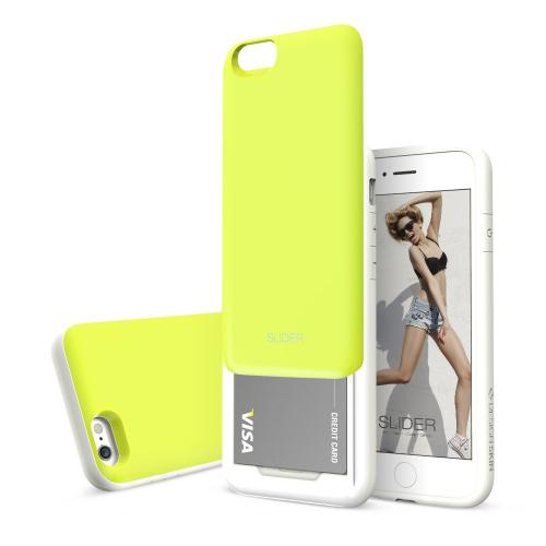 Apple iPhone 6 PLUS/6S PLUS (5.5 inch) Case, Design Skin [Lime Green] SLIDER Premium 3-Layer Bumper Protective Storage Case w/ Shockproof Sliding Cards Slots
