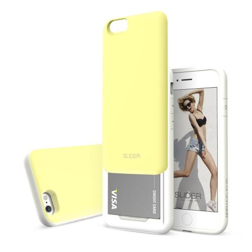 Apple iPhone 6 PLUS/6S PLUS (5.5 inch) Case, Design Skin [Lemon Yellow] SLIDER Premium 3-Layer Bumper Protective Storage Case w/ Shockproof Sliding Cards Slots
