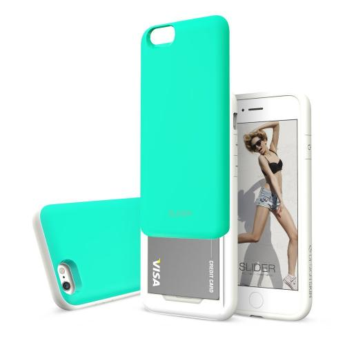 Apple iPhone 6 PLUS/6S PLUS (5.5 inch) Case, Design Skin [Mint Blue] SLIDER Premium 3-Layer Bumper Protective Storage Case w/ Shockproof Sliding Cards Slots
