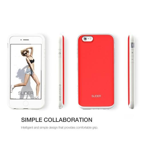 Apple iPhone 6 PLUS/6S PLUS (5.5 inch) Case, Design Skin [Red] SLIDER Premium 3-Layer Bumper Protective Storage Case w/ Shockproof Sliding Cards Slots