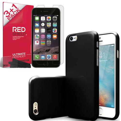 [iPhone 6S Essential Bundle] Black Crystal Silicone TPU Skin Protective Cover & [4pk] Redshield Crystal Clear Screen Protector Bundle For Apple iPhone 6S