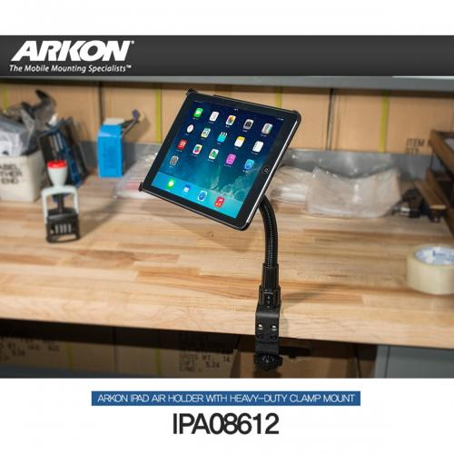 "Arkon Black iPad Air Custom Fit Mount - C-Clamp Mount with 12"" Flex Gooseneck (IPA-CFH + GN086-12-SBH)"