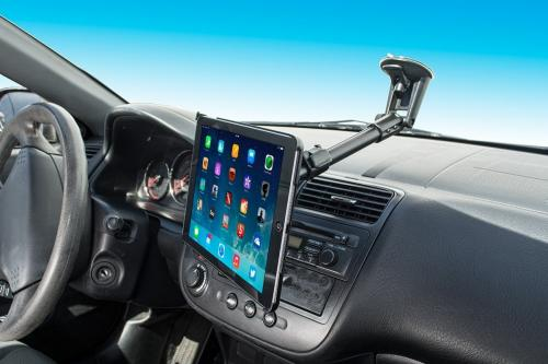 "Arkon Black iPad Air Custom Fit Mount - 14.5"" - 18.5"" Windshield Suction Mount (IPA-CFH + CM117-SBH)"