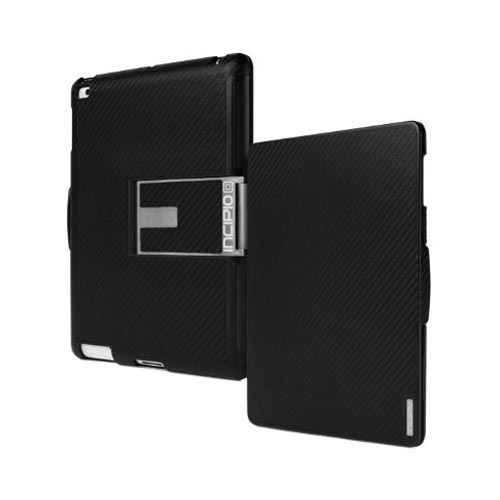 Original Incipio Flagship Folio Apple iPad 2/ New iPad Hard Case w/ Kickstand & 8 Viewing Modes - Black Carbon Fiber