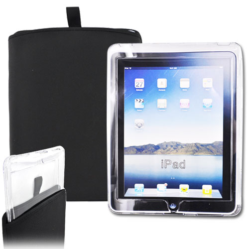 """Exclusive"" Apple iPad (1st Gen) Wifi 3G Rugged Heavy Duty Nylon Case Sleeve w/ Pull Tab & Protective Clear Case Combo - Black"