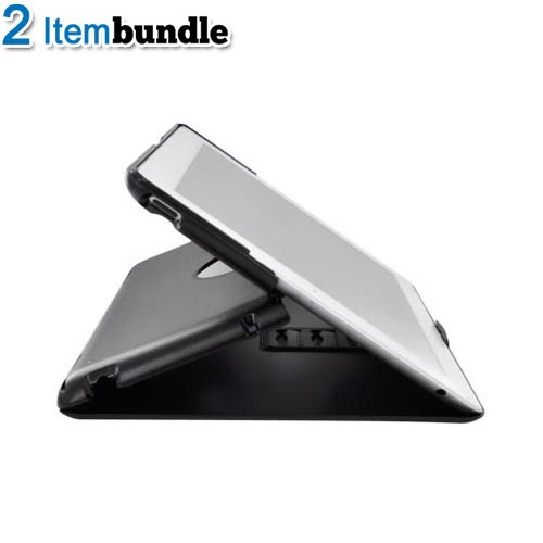 Apple iPad 2 Basic Bundle w/ Black & White Standing Slim Hard Case w/ Adjustable Stand Angles