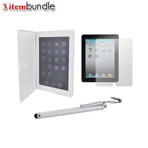 Apple iPad 2 Essential Bundle Package w/ White Standing Slim Hard Case, Stylus Pen, & Anti-Glare Screen Protector