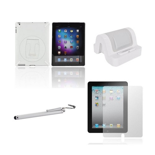 Apple Ipad 2/ New Ipad Package W/ Aprolink Charging Stand Dock, White Hard Case W/ Rotable Kickstand, Anti-glare Screen Protector, Silver Stylus Pen