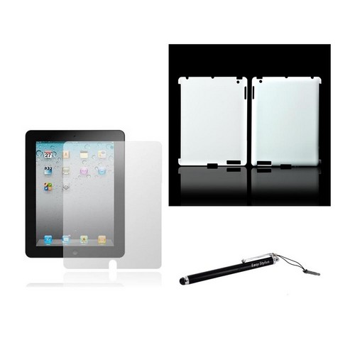 Apple iPad 2/3/4 Essential Bundle Package w/ Ultra-Premium Slim Glossy Snow White Hard Case, Anti-Glare Screen Protector, & Black Stylus Pen