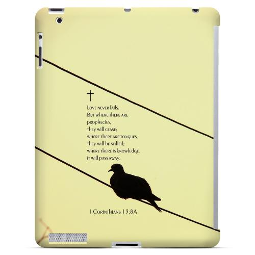 Geeks Designer Line (GDL) Bibles Series Apple iPad 2/3 Slim Hard Back Cover - 1 Corinthians 13:8A