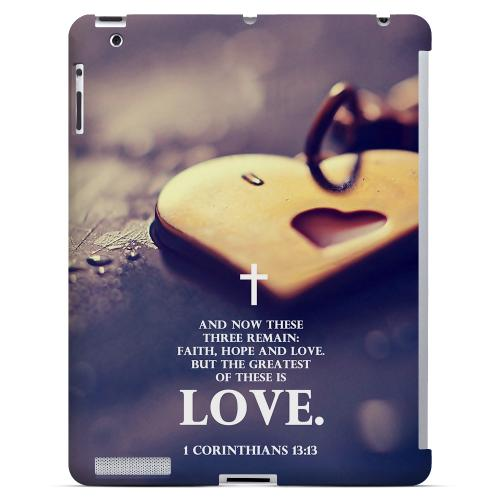 Geeks Designer Line (GDL) Bibles Series Apple iPad 2/3 4 Slim Hard Back Cover - 1 Corinthians 13:13