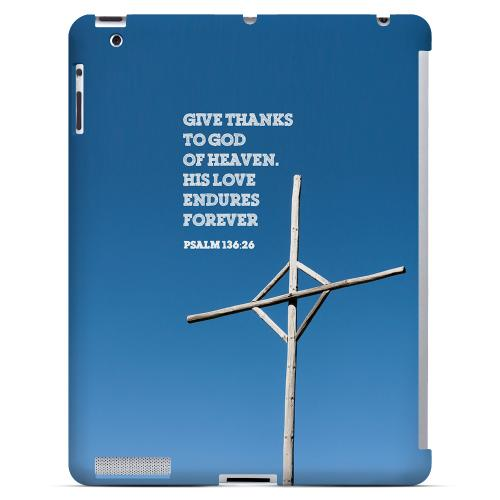 Geeks Designer Line (GDL) Bibles Series Apple iPad 2/3 Slim Hard Back Cover - Psalm 136:26