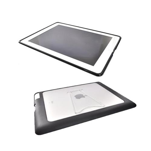 Apple iPad 2 Essential Bundle Package w/ Black Nylon Pouch w/ Pull Tab, Clear/Black Gummy Hard Case and Anti-Glare Screen Protector