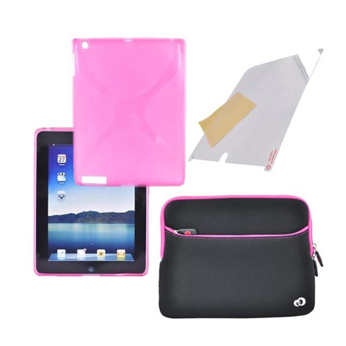 Apple iPad 2/ New iPad Pink Bundle Package w/ X Hot Pink Crystal Silicone Case, Kroo USA Pink/Black Neoprene Sleeve Case & Premium Screen Protector