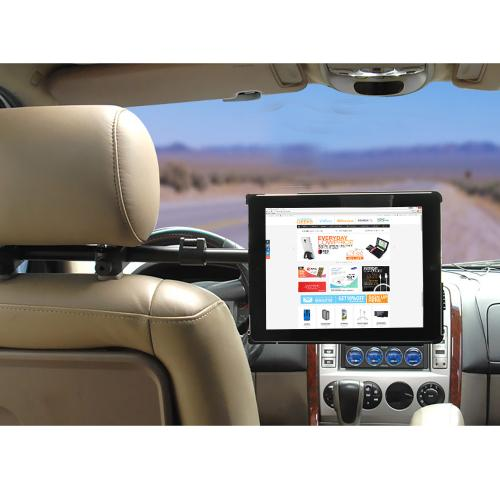 Arkon Black iPad Air Custom Fit Mount - Deluxe Car Seat Headrest Extension Mount (IPA-CFH + HM003-SBH)