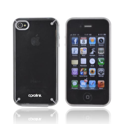 Original Aprolink AT&T/ Verizon Apple iPhone 4, iPhone 4S Fusion Dual Shell Hard Case, IPF-416-02 - Glow in the Dark/ Transparent Smoke/ Gray