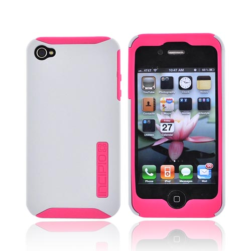 Original Incipio Apple Verizon/ AT&T iPhone 4, iPhone 4S Silicrylic Dual Hard Case on Silicone w/ Screen Protector, IPH-507 - Hot Pink and Gray