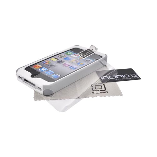 Original Incipio Apple Verizon/ AT&T iPhone 4, iPhone 4S Silicrylic Dual Hard Case on Silicone w/ Screen Protector, IPH-510 - White/ Silver