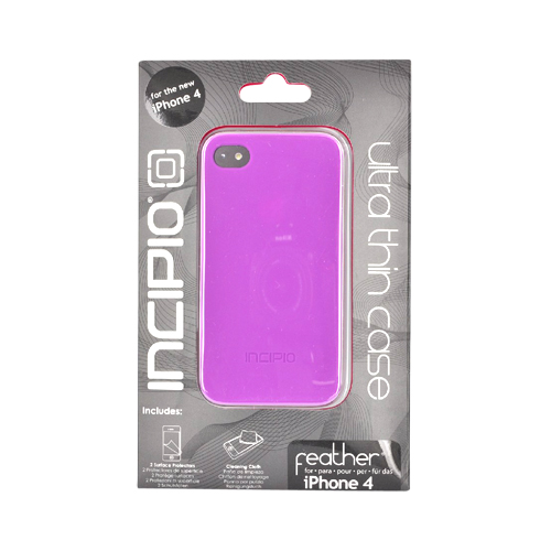 Original Incipio Feather Apple iPhone 4 Ultra Thin Rubberized Hard Case w/ 2 Screen Protector, IPH-513 - Purple