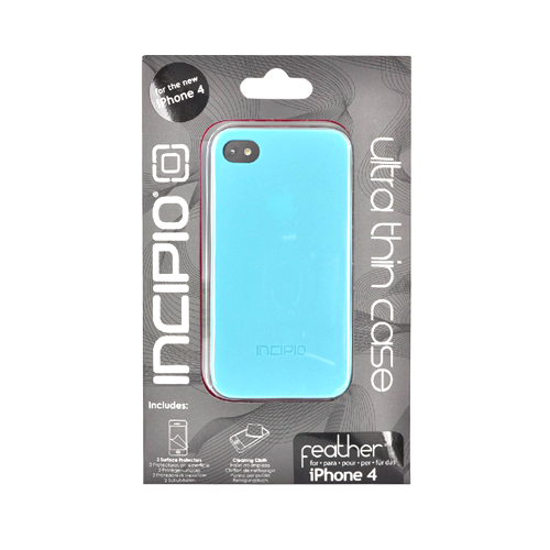 Original Incipio Feather Apple iPhone 4 Ultra Thin Rubberized Hard Case w/ 2 Screen Protector, IPH-520 - Turquoise