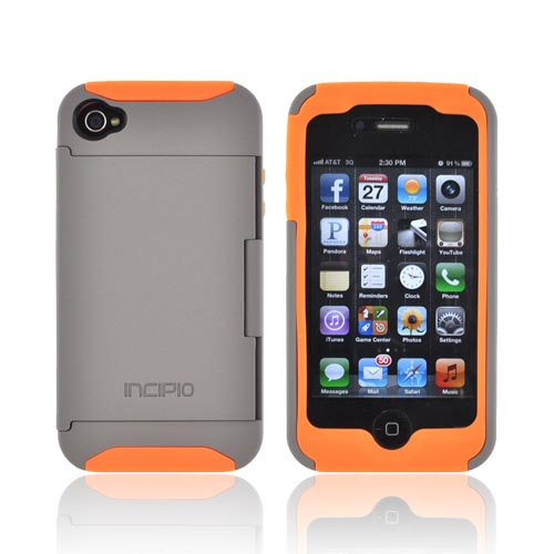 Genuine Incipio Stowaway At&t;/ Verizon Apple Iphone 4, Iphone 4s Hard Case On Silicone W/ Id & Card Compartment & Screen Protector - Gray/ Orange