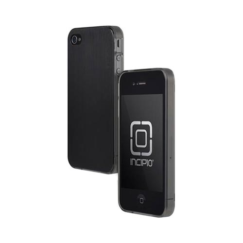 Original Incipio AT&T/ Verizon Apple iPhone 4, iPhone 4S Le Deux Brushed Aluminum Hard Back w/ Transparent Gummy Silicone Border Case, IPH-680 - Black/ Gray