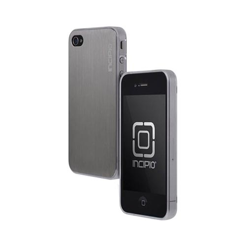Original Incipio AT&T/ Verizon Apple iPhone 4, iPhone 4S Le Deux Brushed Aluminum Hard Back w/ Transparent Gummy Silicone Border Case, IPH-681 - Silver/ Frost White