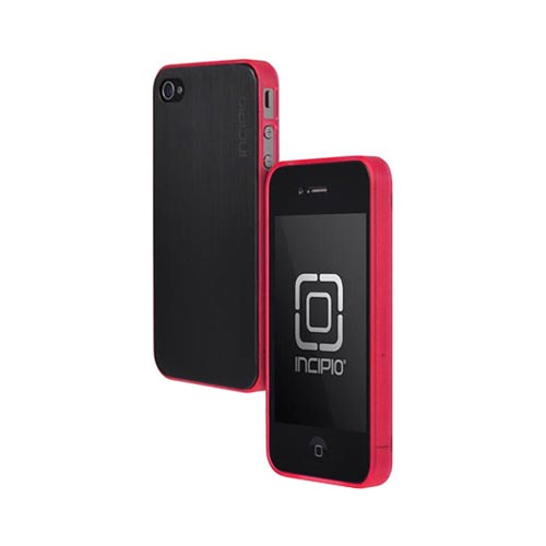 Genuine Incipio At&t/ Verizon Apple Iphone 4, Iphone 4s Le Deux Brushed Aluminum Hard Back W/ Clear Gummy Silicone Border Case- Black/ Hot Pink