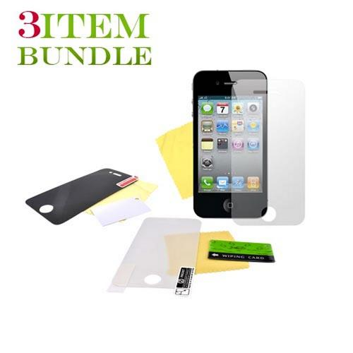 Apple iPhone 4 Bundle Package - Premium, Privacy & Mirror Screen Protectors - (Traveller Combo)