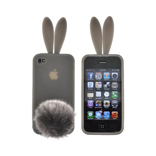 AT&T/ Verizon Apple iPhone 4, iPhone 4S Bunny Bundle w/ Smoke Gray Silicone Case w/ Fur Tail Stand, Gray Fur Stopple, & Mirror Screen Protector