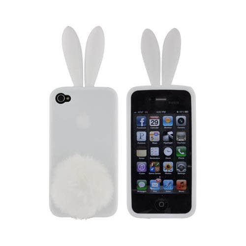 AT&T/ Verizon Apple iPhone 4, iPhone 4S Bunny Bundle w/ Solid White Silicone Case w/ Fur Tail Stand, White Fur Stopple, & Mirror Screen Protector