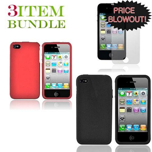 Apple iPhone 4 Bundle Package - Red Hard Case, Silicone Case & Screen Protector - (Essential Combo)