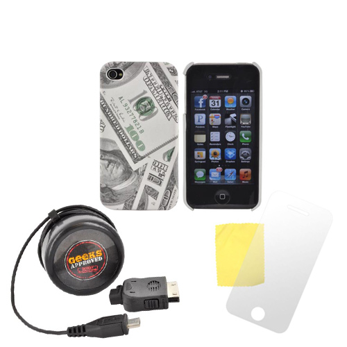 AT&T/ Verizon Apple iPhone 4, iPhone 4S Patriotic Bundle w/ $100 Bills Hard Case, Screen Protector, & Geek's Approved Micro USB Mobile Communicator Rejuvenator (Travel Charger) w/ iPhone/ iPod Adapter