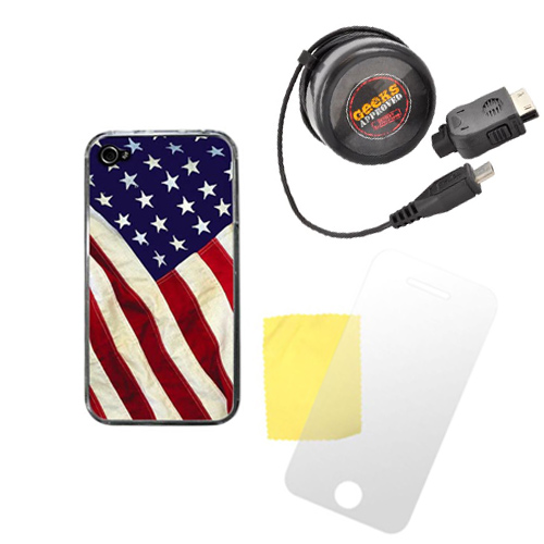 AT&T/ Verizon Apple iPhone 4, iPhone 4S Patriotic Bundle w/ Zero Gravity American Flag Hard Case, Screen Protector, & Geek's Approved Micro USB Mobile Communicator Rejuvenator (Travel Charger) w/ iPhone/ iPod Adapter